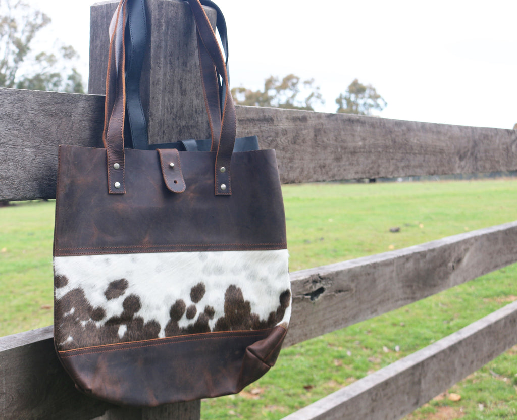 Leather and Cow Hide Tote