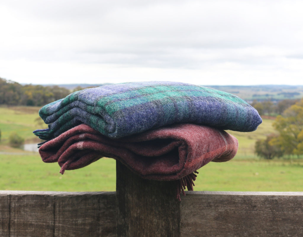 Recycled Wool Throw - Wine