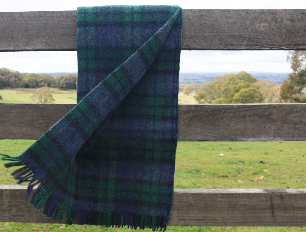 Recycled Wool Travel and Picnic Rug - Green and Navy
