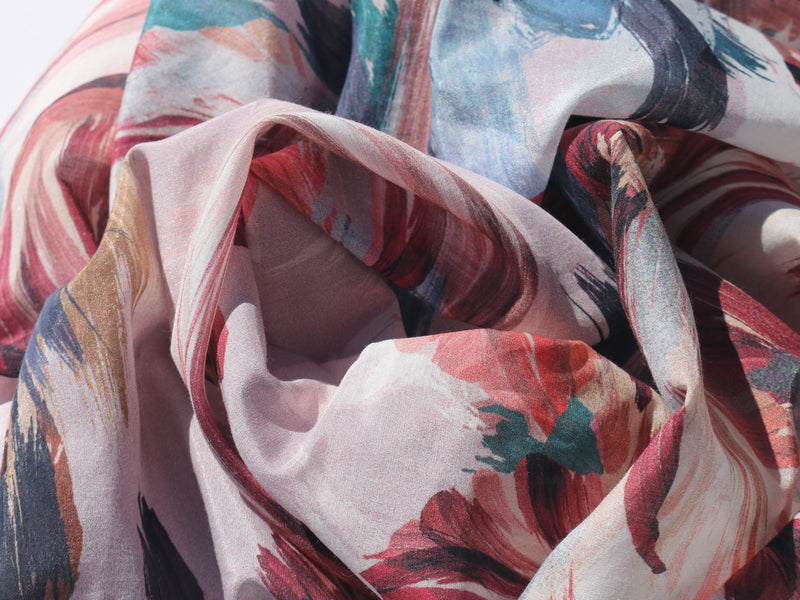 Printed Silk/Cotton Scarf – Brush Strokes