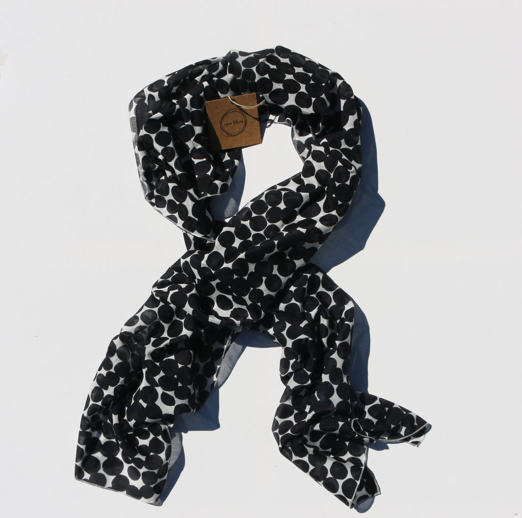 Printed Silk/Cotton Scarf – Navy Spot