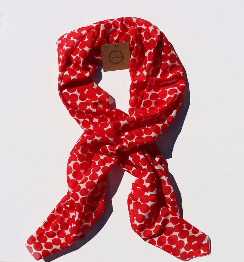 Printed Silk/Cotton Scarf – Red Spot