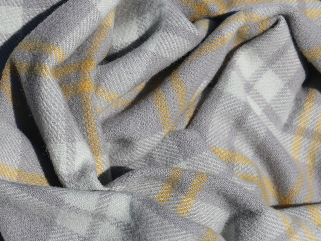 Yellow/Grey Check Wool Scarf