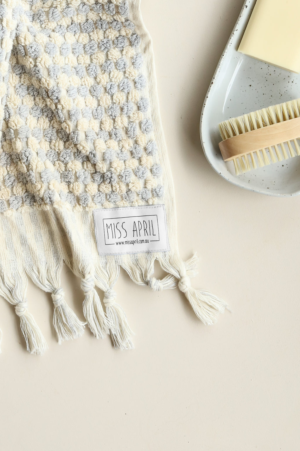 Pom Pom Hand Towel - Light Grey