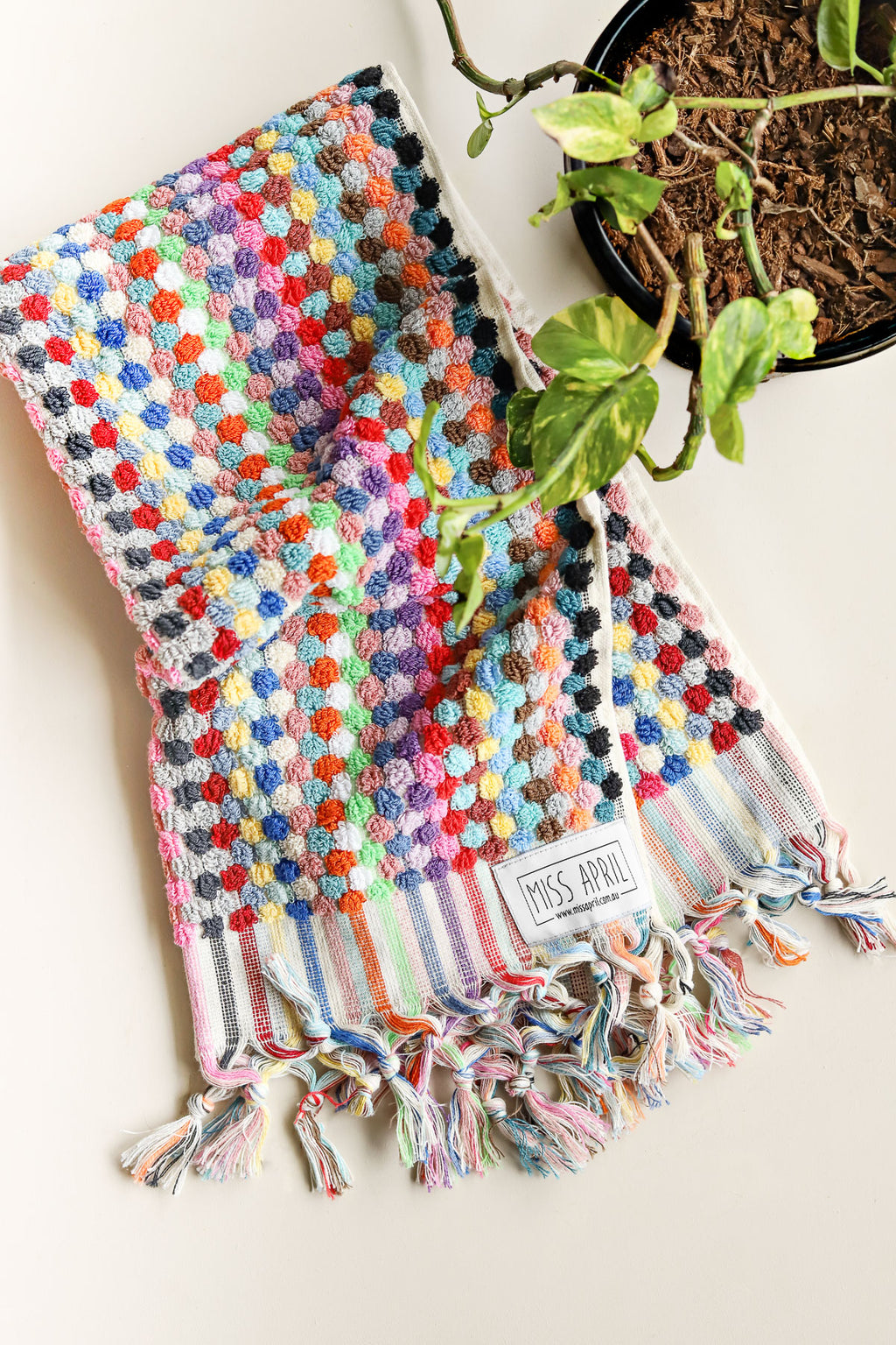 Pom Pom Hand Towel - Multicoloured