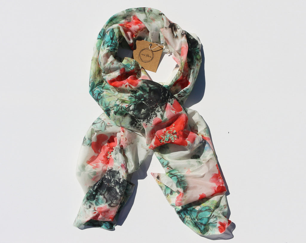 Floral Cotton and Silk Blend Scarf