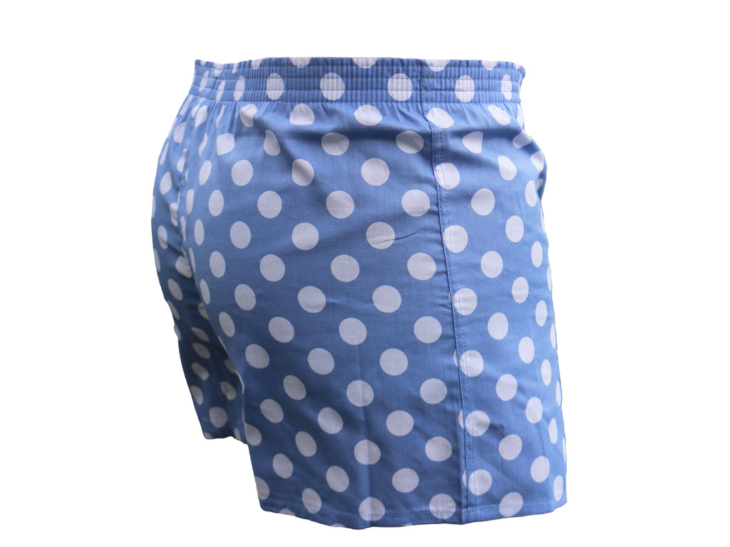 The Classic Boxer - Sky Blue with White Spots