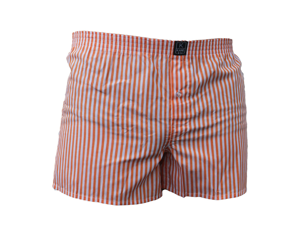 The Classic Boxer - Orange/White Stripe