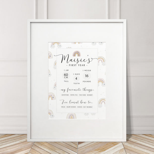 Baby's First Year Milestone Birthday Rainbow Print