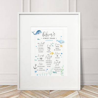 Baby's First Year Milestone Birthday 'Under the Sea' Print