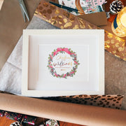 Christmas at the… Family Names Foil Wreath Print