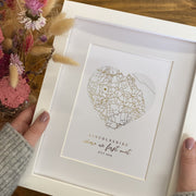 Personalised Heart Map Foil Print