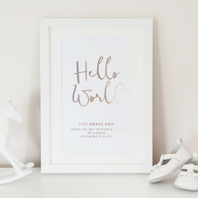 Personalised 'Hello World' New Baby Foil Print