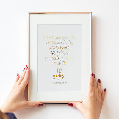 Personalised Anniversary 'Hours and Days' Foil Print