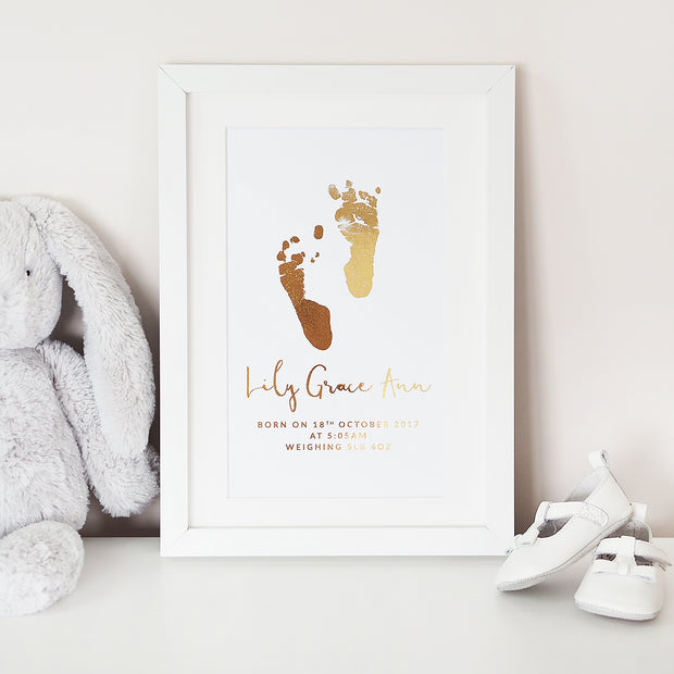 Personalised Baby Footprint Foil Print