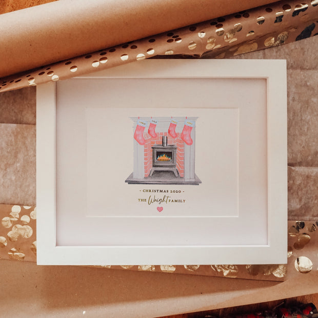 Personalised Christmas Family Fireplace Stocking Foil Print
