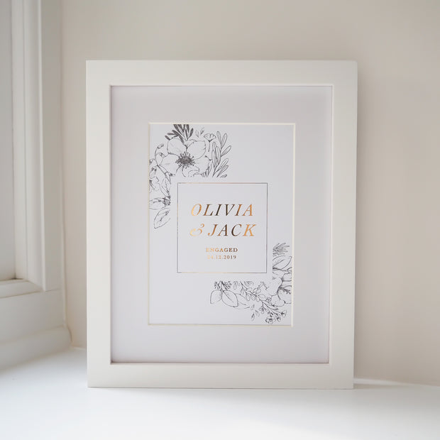 Personalised Engagement Botanical Border Foil Print