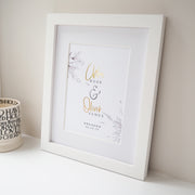 Personalised Engagement Botanical Foil Print