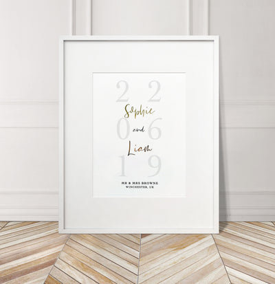 Personalised Faded Wedding Date Foil Print