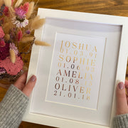 Personalised Family Name and Birth Dates Foil Print