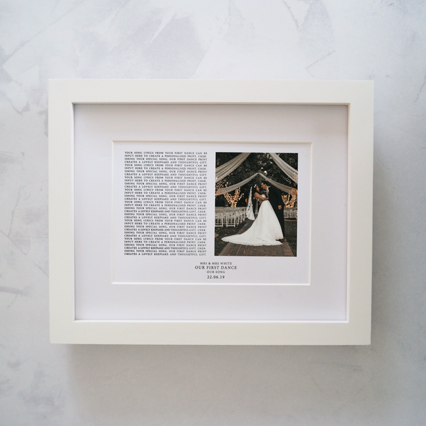 Personalised First Dance Song Lyrics Wedding Photo Print