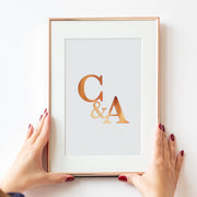 Personalised Initials Ampersand Foil Print
