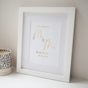 Personalised Mr Mrs Anniversary Days Foil Print