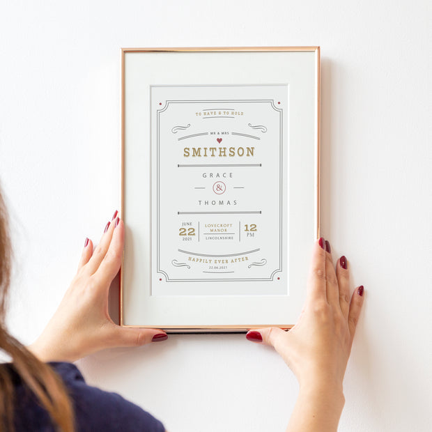 Personalised Mr Mrs Vintage Style Wedding Print