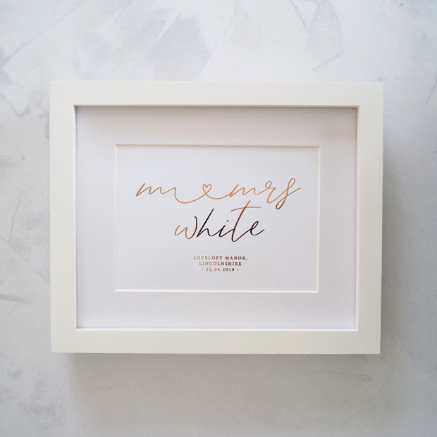 Personalised Mr Mrs Wedding Heart Foil Print