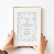 Personalised Mr Mrs Wildflower Wedding Print