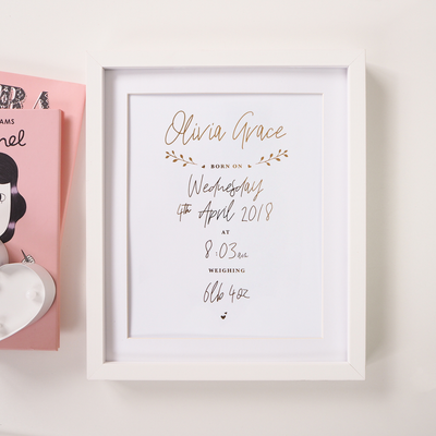 Personalised New Baby Decorative Foil Print
