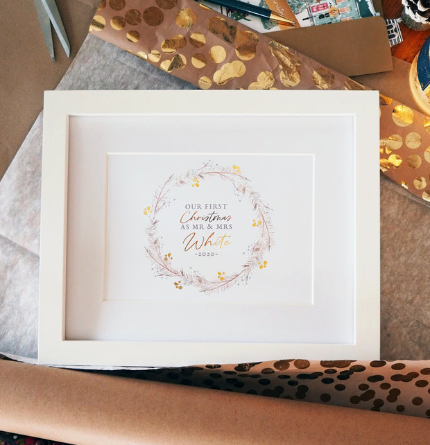 Personalised Our First Christmas as Mr Mrs Garland Foil Berry Print