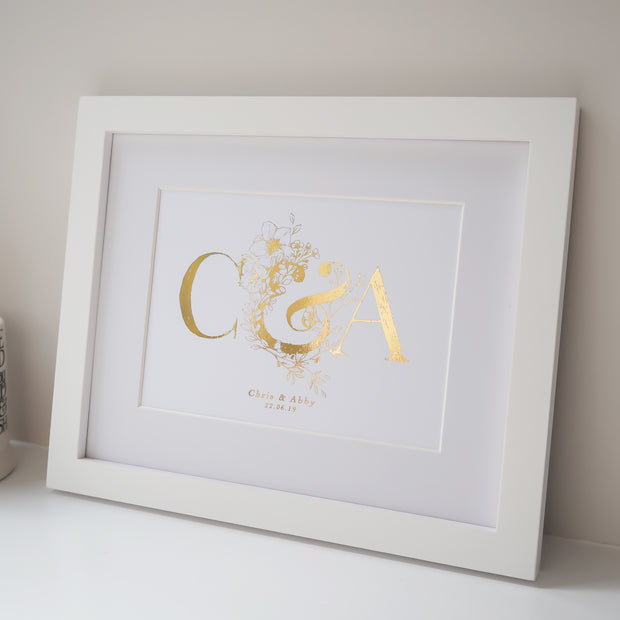 Personalised Wedding Botanical Initials Foil Print