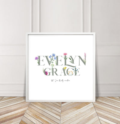 Personalised Wildflower Name Baby Print