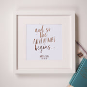 Personalised 'And so the adventure begins...' Foil Print