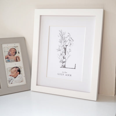 Personalised Botanical Initial Name Print