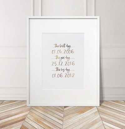Personalised 'First, Yes, Big Day' Foil Print