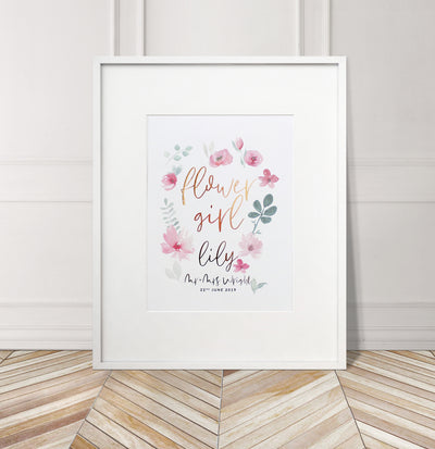 Personalised 'Flower Girl' Wedding Flower Foil Print