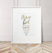 Personalised 'Flower Girl' Wedding Foil Print