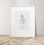 Personalised 'Happily Ever After' Botanical Foil Print