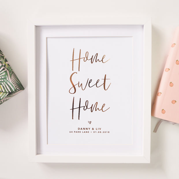 Personalised 'Home Sweet Home' New Home Foil Print