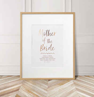 Personalised 'Mother of the Bride' Wedding Foil Print