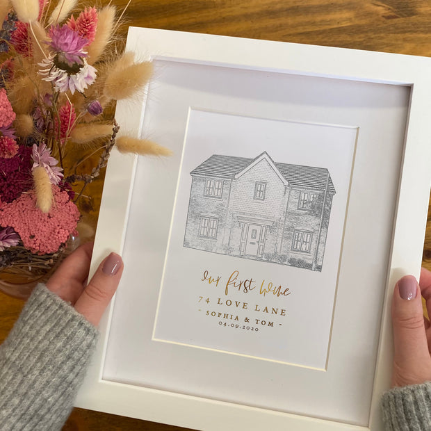 Personalised 'New Home' House Illustration Style Print