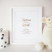 Personalised 'Welcome to the World' Baby Foil Print