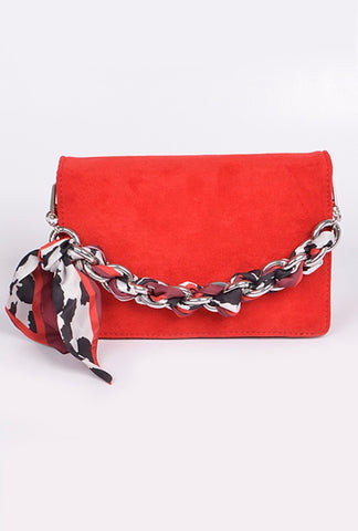 Red Suede Mini Clutch