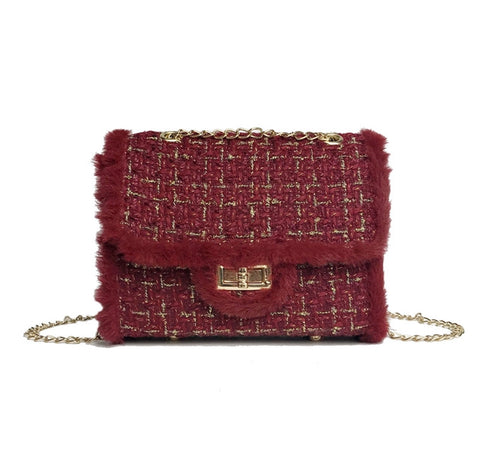 Plaid Wool Chain Clutch