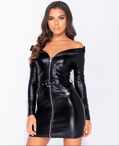Leather Mini Biker Dress