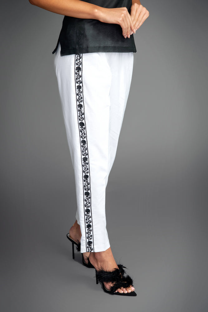 Load image into Gallery viewer, Crisp White Cotton Slimline Trousers