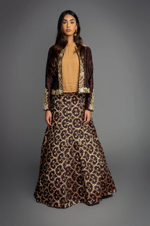 Brown Brocade Skirt Suit