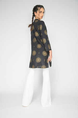 Load image into Gallery viewer, Raina Black & Gold Tunic